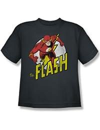 Das Flash-Flash-Run Run Jugend Kurzarm T-Shirt in der Holzkohle von DC Comics