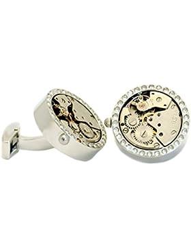 Uhrwerk Kristallstein Manschettenknöpfe Edelstahl beweglich silberfarben glänzend + Kristallsteinen plus. Krokoimitat-Geschenkbox...
