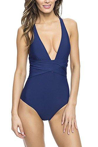 Aleumdr Costume da Bagno Intero con Spalline Incrociate Donne Halter senza Schienale Un pezzo Monikini Donna Bikini Mare Blu