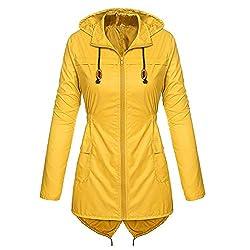 ESAILQ Damen Leicht Regenmantel Mit Kapuze Imprägniert Active Outdoor Regenjacke Mantel(Medium,Gelb)