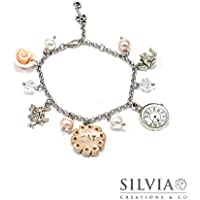 Bracciale Alice in Wonderland inspired rosato con charms