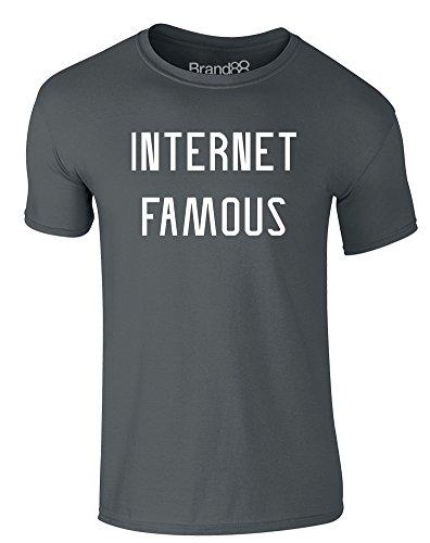 Brand88 - Internet Famous, Erwachsene Gedrucktes T-Shirt Dunkelgrau/Weiß