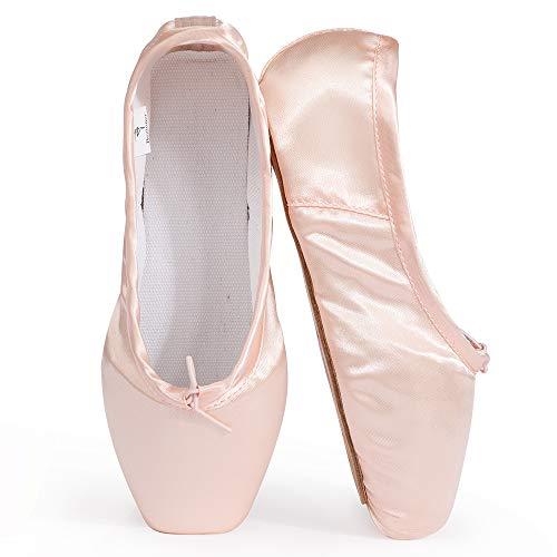 Skyrocket Mujeres y Niñas Satén Pointe Zapatos Puntas de ballet Pack de 1 puntera de gel de silicona...