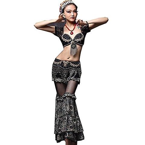 Byjia Moderne Frauen Bauchtanz-Outfit Professionelle Leistung Nation Tribal Wind Quaste handgemachte Kostüm Silk Retro Bloomers , black , (Groß Nation-kostüm Für Erwachsene)