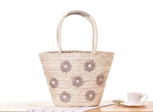 GUMO-Borsa da spiaggia, ricamo, borse a tracolla, borse di paglia, vacanze estive, tessuti sacchetto,grigio gray