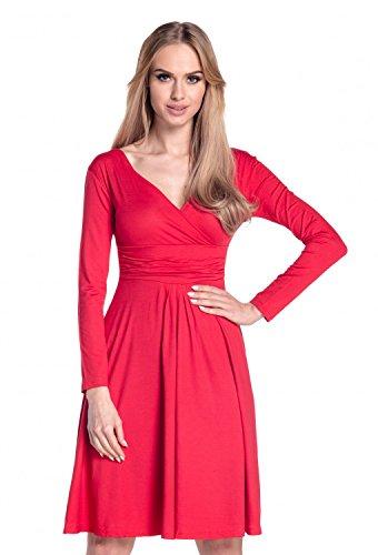 Glamour Empire. Donna abito a pieghe gonna svasata vestito manica lunga 890 Rosso