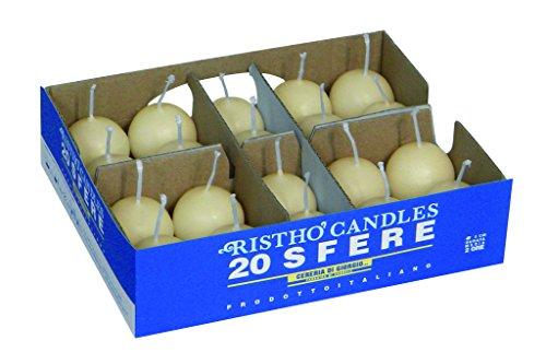 Cereria di giorgio risthò candele sfera, cera, avorio, 3 x 3 x 3 cm, 20 unità