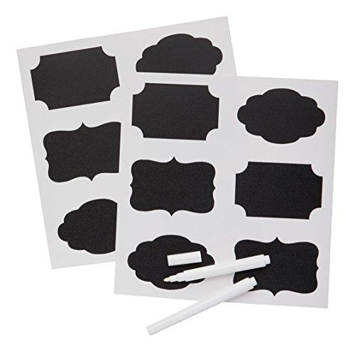 Kitchen craft-set di etichette, motivo: lavagna a forma di barattolo di marmellata, confezione da 12 pezzi