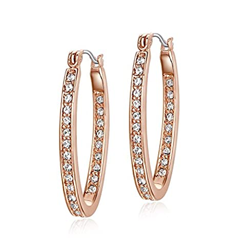 UMODE Rhinestone Hoop Earrings Oval Shape High Polished for Women
