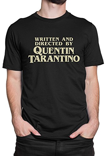 LaMAGLIERIA Camiseta Hombre Written and Directed by Quentin Tarantino - Camiseta 100% algodòn, M, Negro