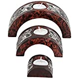 Outdazzle Designer Brown Wooden Candle Stand With T-light Candle For Diwali Decoration & Gift (Set Of 3)