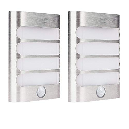 2-Pack Leadleds Luxury Aluminium Stick Anywhere Bright Motion Sensor LED Wall Wandlampen Night Light Akku betrieben, Auto on/off für Flur, Schrank, Weg, Treppe, Garten Band Night Light