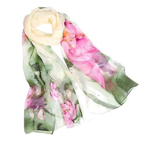 CAOQAO Mode Damen Lotus Druck lange weiche Wrap Schal Damen Schal Schals Chinesischer Stil - Taschen Wollschal Mit