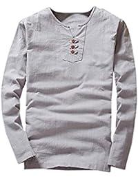 ZARLLE Camisa Hombre Lino Casual De Manga Larga con Cuello En V Y T- Shirt  Top Blouse Lavado Ultra-Delgado Cuello Alto De Color SóLido… a5f53e35f7a