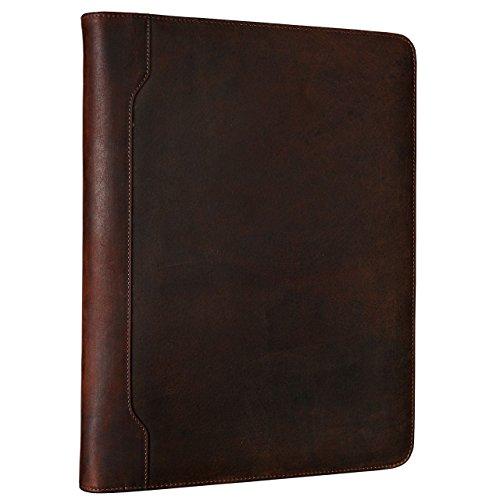 STILORD \'Vincent\' Vintage Konferenzmappe DIN A4 Dokumentenmappe Organizer Aktenmappe mit Ringbuch Schreibmappe echtes Leder, Dunkelbraun