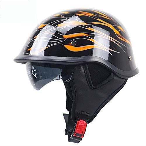 Casco moto Harley Retrò casco mezzo D.O.T certificazione Personalità per Pedale Cruiser Auto elettrica Unisex Confortevole Sicurezza Occhiali da sole incorporati L'obiettivo può essere capovolto,L