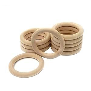 Coskiss Bambino di dentizione 100Pcs di legno di legno anello 1,57 pollici Diametro esterno (40mm), anelli di dentizione, anello Lanciare giochi e altro ancora (in legno di colore 100pcs)