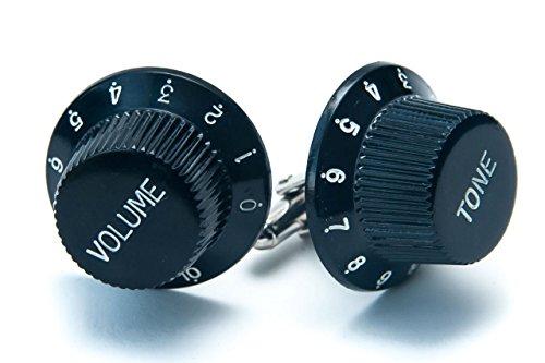Boutons de manchette en forme de bouton de volume de guitare, noir