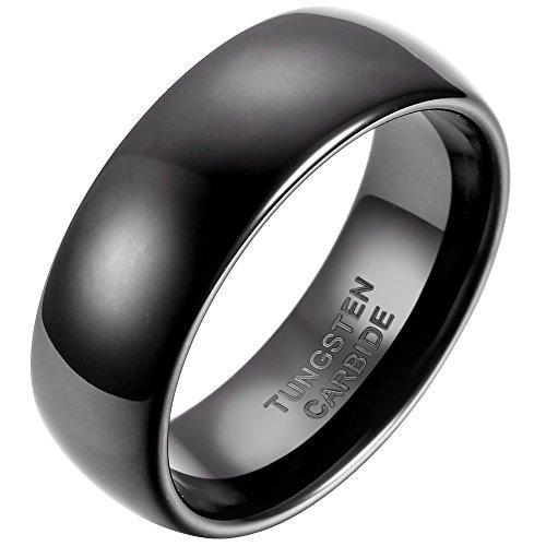 JewelryWe Schmuck 8mm Breite Glänzend Wolframcarbid Herren Damen Ring Jahrestag Verlobung Hochzeit Band Schwarz Klassik Dom Größe 65 (Elf Ehering Gesetzt)