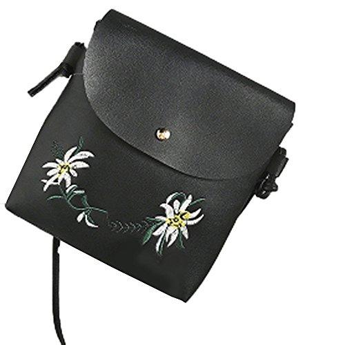 Tasche Bags Loveso Damen Mode Niedlich Blumenmuster PU Leder Mini Messenger Taschen Stickerei Crossbody Schultertaschen Handtasche Kleine Body Bags (Schwarz) (Kleine Leder Tote Patent)