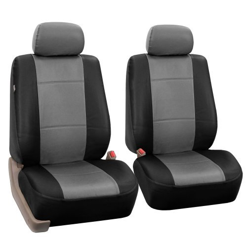 FH-PU001102 PU Leather Car Front Bucket Seat Covers Gray / Black color by FH Group