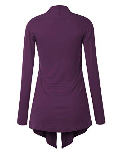 Suimiki Casual Damen Cardigan Strickjacke Offener V-Ausschnitt Langarmshirts Sweatshirts Loose Fit Longshirts Sommerjacke Blusen 02Violett