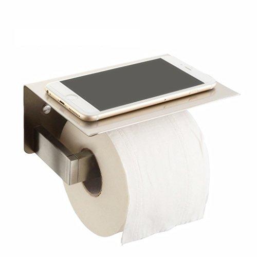Papierhalter Edelstahl Toilettenpapierhalter mit Ablage für Mobiltelefon,Rollenhalter Wandmontage toilettenpapierhalterung WC Wandhalter Handyhalter Klopapierhalter