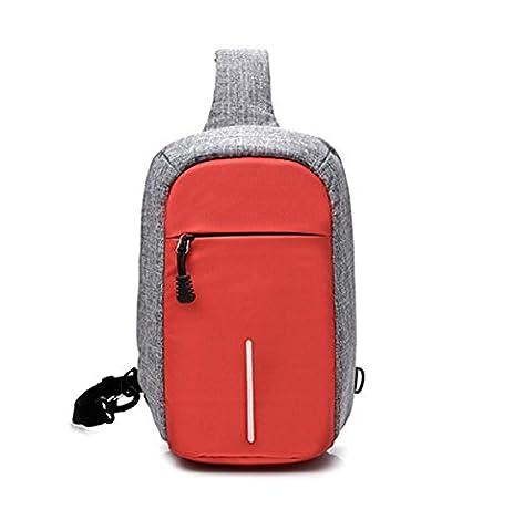 BULAGE Pack Sac De Poitrine Sac Homme Multi En Plein Air équitation Sécurité Travail Shopping Voyage école Voyage Sports,Red-OneSize