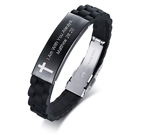 PJ JEWELRY Edelstahl Matthew 28:20 Armband, ich Bin mit dir Immer Bibel Vers Zitat eingraviert Kreuz ID Armbänder für Männer -