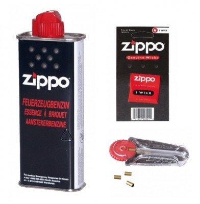 ORIGINAL ZIPPO -Zubehör-Set ,Nachfüll-Komponenten Benzin+Flints+Docht