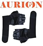 Aurion Power Muscle all leather gym glove with wrist support