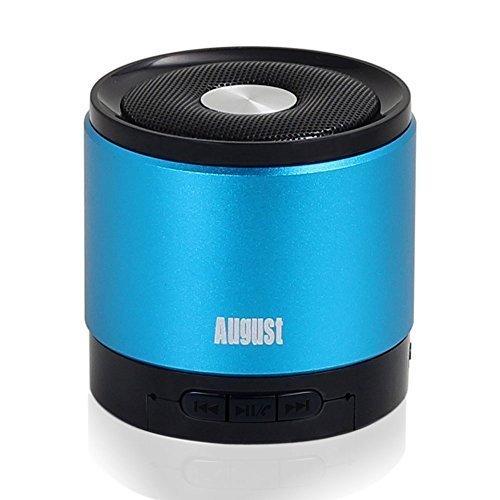 August MS425 - Mobiler Bluetooth v4.0 Lautsprecher mit Mikrofon - Schnurloser Speaker und Freisprecheinrichtung für Smartphones und Handys (blau)