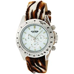 K & BROS Frauen 9423-9 Ice-Time Chronograph Animal Print Uhr