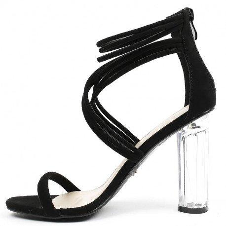 Ideal Shoes - Sandales effet daim avec talon transparent Jiliana Noir