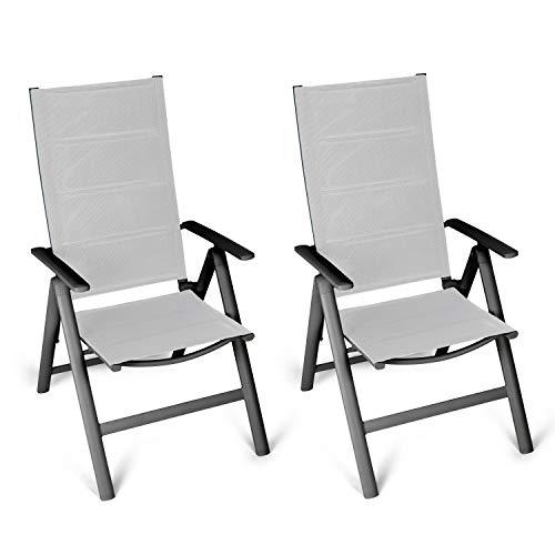 Vanage gepolsterter Gartenstuhl in grau - Klappstuhl im 2er Set - Hochlehner - Klappsessel - Gartenmöbel - Stuhl für Garten, Terrasse und Balkon geeignet -