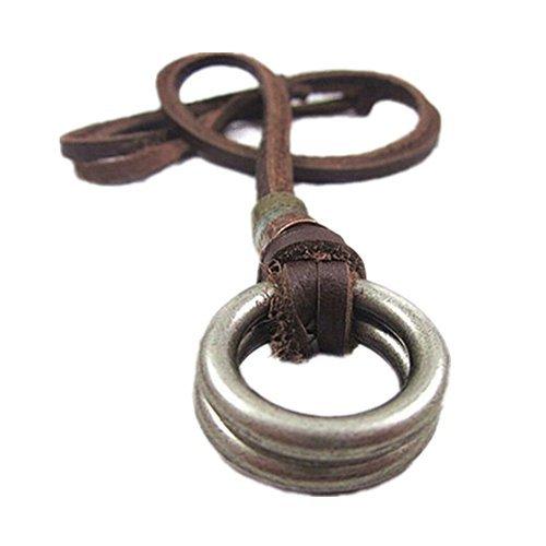 Original Tribe De cuero marrón y colgante de la aleación Adiustable Collar para hombre collar unisex collar fresco collar Pl233