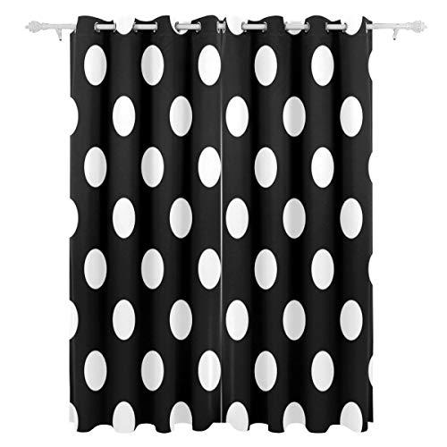 AGIRL Fashional Weiß Schwarz Welle Punkt Dekorative Hängende 2 Panel Set Gedruckt Blackout Fenster Vorhänge Für Schlafzimmer Wohnzimmer Esszimmer Fenster Vorhänge 54x84 Zoll Vorhang (Dekorative Vorhänge Für Schlafzimmer)