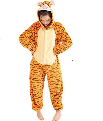 Winnie the pooh personajes Pijama Completo cerdito burro eeyore Tigre onesie Fiesta Disfraz de Kigurumi Con Capucha PIJAMA Sudadera Ropa Para Dormir regalo de Navidad (Tigger, S(height 150cm-160cm)