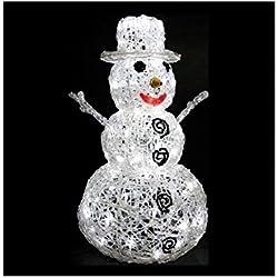 DECORACIÓN DE NAVIDAD: Muñeco de nieve luminoso de 96 bombillas LED Blancas