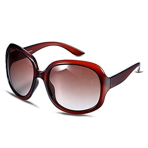 Hmilydyk pour femme Super surdimensionné Lunettes de soleil polarisées Shades classique Gradient objectif Full Miroir Lady célébrité Mode, Brown Frame with Brown