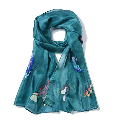 Invisible World Foulard Seta da Donna 100% Lunga Dipinta a Mano con  Farfalla per Collo cba034dcbe8e