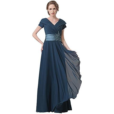 Adasbridal-vestidos de madre de novia de Increible gasa de escote con cuello en V de longitud completa de A-