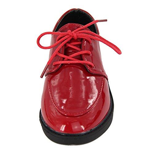 maxu Fashion brevet Chaussures en dentelle Princesse effectuer en cuir red