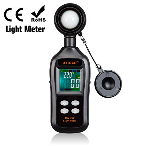Professional Luxmeter UYIGAO Digital Beleuchtungsstärke 200,000 Lux/Fc Portable Photometer Lichtmesser mit 4-bit Color LCD Display
