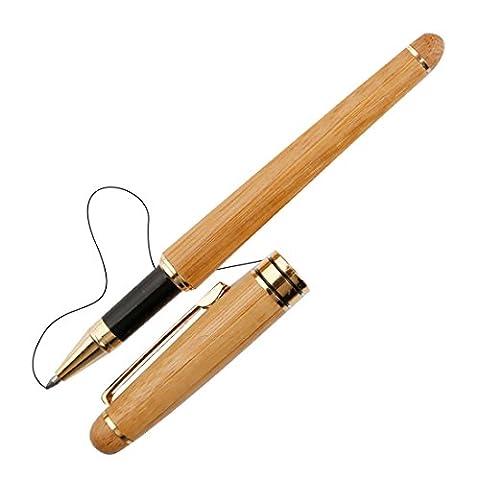 A-szcxtop Stylo plume Naturel fabriqué à la main en bambou écriture Stylo avec étui cadeau idéal pour partenaire d'affaires Teacher Bamboo rollerball pen