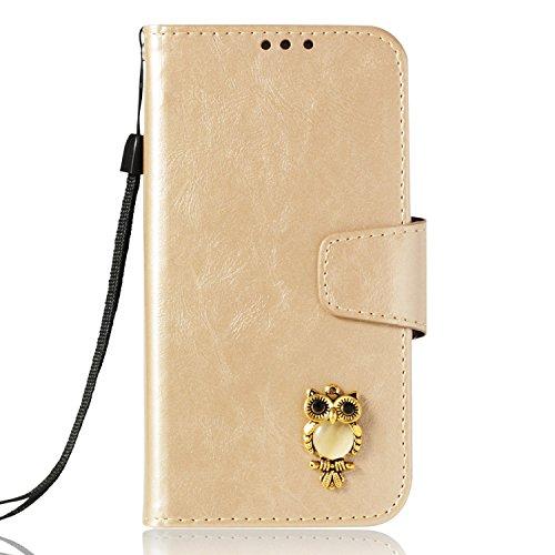 Lomogo Huawei P Smart Hülle Leder, Schutzhülle Brieftasche mit Kartenfach Klappbar Magnetverschluss Stoßfest Kratzfest Handyhülle Case für Huawei P Smart - LOYBO38238 Gold