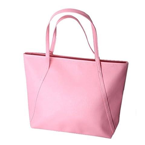 Sac à main, FeiTong Simple d'hiver de plus grande capacité en cuir PU Femmes Messenger Bag (Rose)