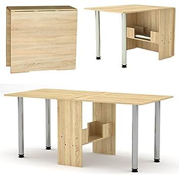 klappbarer tisch klapptisch sonoma eiche mit metallbeinen k chentisch doppelklappentisch. Black Bedroom Furniture Sets. Home Design Ideas