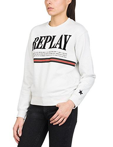 Replay Damen Sweater Sweatshirt, Weiß (Ice 209), Small