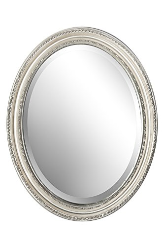 B.U.S. Wohnstyle Spiegel Wandspiegel oval antik Silber DUNJA 47 x 37 cm